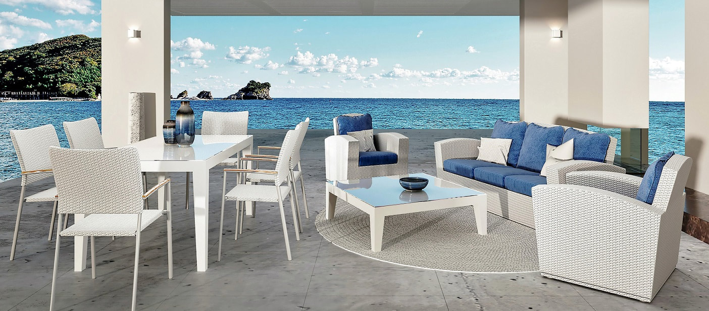 White outddor furniture in modern style in Estepona